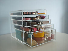 BEAUTY CUBE ACRYLIC MAKEUP ORGANIZER CLEAR COSMETIC STORAGE 5 DRAWERS