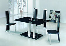 SAVIO SMALL GLASS CHROME DINING ROOM TABLE AND 4 CHAIRS SET- 120 cm - (IJ601-895