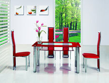 ROVIGO LARGE GLASS CHROME DINING ROOM TABLE AND 4 CHAIRS SET -135 cm- IJ650-818L