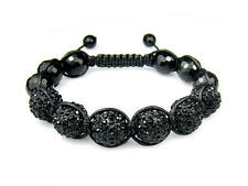 12MM ICED OUT BLACK ONYX & DISCO BALL HIP HOP MACRAME BEADED BRACELET