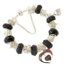 LADIES BLACK  &  SILVER SPARKLE CHARM BRACELET ~ PERSONALISE GIFT BOX 17 CHARMS