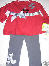 Disney Minnie & Mickey Mouse Girls 2pc Long Sleeve Top & Legging 12 18 24 Mo $36