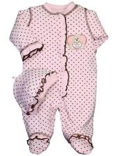 Girls Adorable Pink & Brown Dot Preemie Baby Clothing Footie and Hat - Little Me