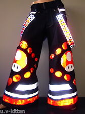 Schminke: Red mushroom Phat pants rave reflective dance reflector techno doof