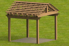 Yard and Garden Pergola with Gable Roof Building Plans