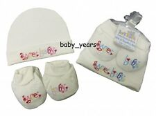 BABY NEWBORN HAT AND BOOTEE SET WHITE PINK BLUE BOYS GIRLS SWEET BABY GIFT NEW