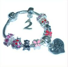 CHILDRENS/GIRLS PERSONALISED NAME/INITIAL & AGE CHARM BRACELET TEDDY BEARS BOXED