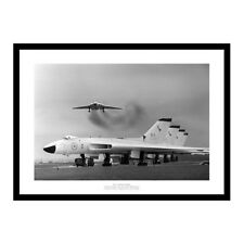 RAF Avro Vulcan Bombers Lined Up on Airfield Aviation Photo Memorabilia (388)