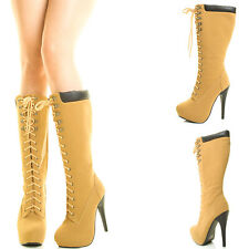 Camel Blk High Top Chunky Thick Heel Lug Platform Sole Lace Up Combat Ankle Boot