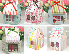 6Pcs*ONE CUP Sweet Small House Cupcake Boxes Gift&Party Boxes With White Insert