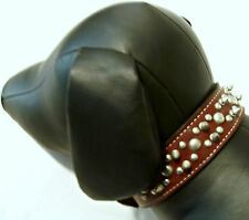 Leather Brown Double Spike and Stud Dog Collar L
