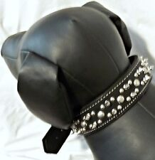 Leather Black Double Spike and Stud Dog Collar