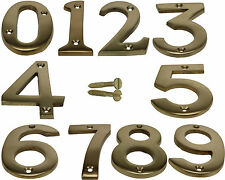 Brass Screw In House Door Number Numeric Digits Plate Plaque Gold Sign - 3 Inch