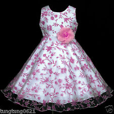 UsaG Pink Flower Hotpink White piw382 Wedding Party Bridesmaids Girl Dress 2-12y