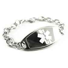 FREE ENGRAVING, Diabetes Medical Alert Charm Bracelet, White Symbol - i1C-BS2