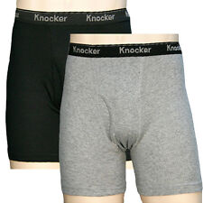 2 Pairs Mens Black & Gray Knocker Cotton Boxer Briefs Underpants Trunks Pack