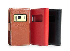 Luxury Genuine Leather Wallet Case Cover Pouch For Nokia N8+Screen Protector