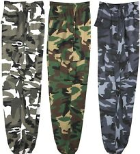 Mens Camouflage camo cargo fleece jog sweat pants blue brown green