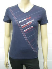 Womens Puma V Neck T-Shirt Top Navy - 08 - 09 Print Size 8 to 14 Ladies A43