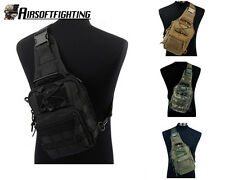 4 Color 1000D Molle Tactical Utility 3 Ways Should Sling Pouch Backpack BK/TAN