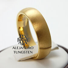 Alejandro Tungsten Carbide Ring 6MM Brushed 18K Gold Designed Luxury Band TG072