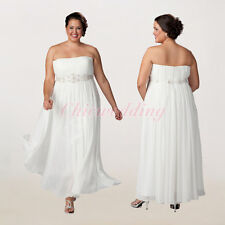 Plus Size Ivory Wedding Dresses Straight Neck Empire Bridal Gown Custom Color