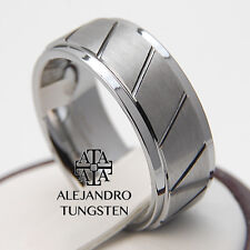 Tungsten Ring Wedding Anniversary Band 8MM Exotic Brushed Design Size 6 to 14