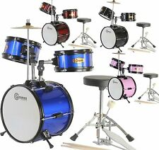 New Junior Childrens Kids Complete Drum Set with Cymbal  Stool Pedal and Sticks