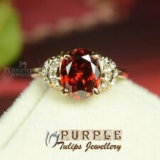 18CT 18K Rose Gold Plated 3.0carat Oval Cut Ruby SWAROVSKI Crystals ladies Ring