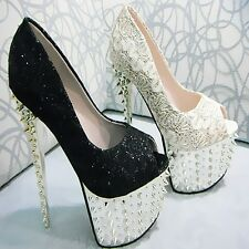 Super Party Queen Platform Studded Spike Glitter Lace High Heels Women shoes