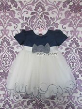 BABY GIRLS IVORY DRESS NAVY BOW PAGEANT CHRISTENING FLOWER GIRL WEDDING CLOTHING