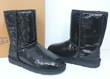 Ugg Classic Short sparkles sequin black boots New In Box!