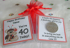 PERSONALISED LUCKY SIXPENCE BIRTHDAY GIFT 18TH 21ST 30TH 40TH ANY AGE LADYBEAR