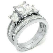 4.5 CT .925 STERLING SILVER EMERALD CUT WEDDING ENGAGEMENT RING SET 5,6,7,8,9,10