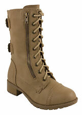 Dome! By Soda Military Style Lace-up Combat Boots in Light Camel