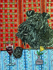 kerry blue terrier dog wine signed art PRINT reproduction of painting gift new