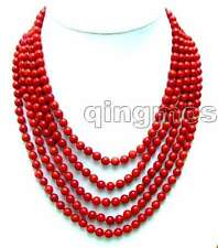 SALE 5 Strands natural Red 6-7mm Round coral necklace & Big Shell Clasp-nec5691