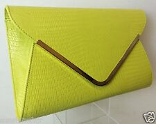 NEW LARGE NEON YELLOW SNAKESKIN FAUX LEATHER HARD ENVELOPE CLUTCH BAG HANDBAG