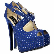 Ladies Womens Strappy Studded Stiletto Platform High Heel Party Shoes Blue Suede