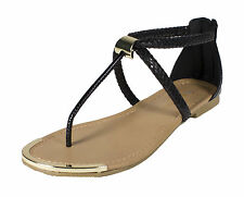 Harty! City Classified Metal Decor Craked Snake Texture Thong Sandal Black Snake