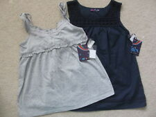 NWT Boutique Dex Girls Tank Navy Crochet Trim Or Grey Gray Ruffle Straps 7 8
