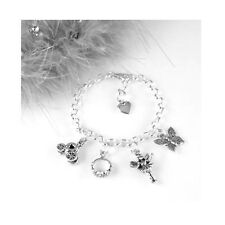 Silver Child's Adjustable Princess Charm Bracelet with fairy, tiara, butterfly