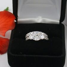 2.28 CT .925 STERLING SILVER ROUND 3 STONE WEDDING ENGAGEMENT RING SET FREE BOX