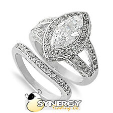 .925 Silver Marquise Cut Clear CZ Engagement Wedding Ring Set  Size 5 6 7 8 9