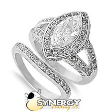 .925 Silver Marquise Cut Clear CZ Engagement Wedding Ring Set  Size 5 6 7 8 9 10