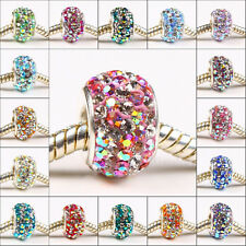 FREE SHIP TRUE 925 SILVER FINDINGS CZECH CZ CRYSTAL STARFALL EUROPEAN CHARM BEAD
