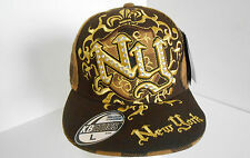 BRAND NEW BILING DIAMANTE  GOLD NY FLAT PEAK ALL FASHION FITTED  BASEBALL  HATS