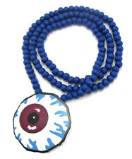 "WOODEN SPOOKY EYE BALL PENDANT PIECE & 36"" CHAIN BEAD NECKLACE GOOD WOOD STYLE"