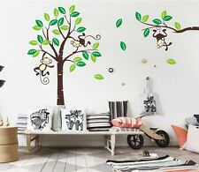 Giraffe Monkey Tree Wall Art Stickers Kids Nursery Vinyl Decal removable X/large