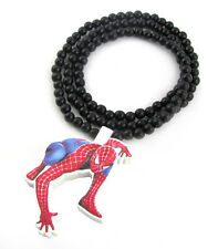 "WOODEN SPIDERMAN PENDANT PIECE & 36"" CHAIN BEAD NECKLACE GOOD WOOD HIP HOP STYLE"